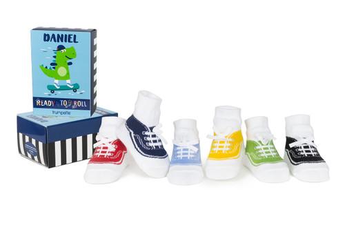 Daniel Low Top Sneaker Style 6 Pack Infant Socks
