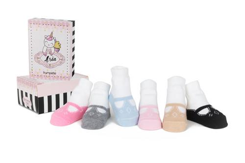 Aria T-Straps 6 Pack Infant Socks