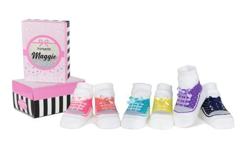 Maggie Sneaker Style 6 Pack Infant Socks