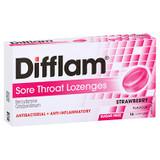 Difflam Sore Throat Lozenges Strawberry - 16 Pack