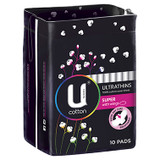 U by Kotex Cotton Ultrathin Pads Super - 10 Pack at Blooms The Chemist