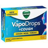 Vicks VapoDrops + Cough Honey Lemon Menthol 36 Lozenges at Blooms The Chemist