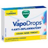 Vicks VapoDrops + Anti-Inflammatory Lemon Menthol 16 Lozenges at Blooms The Chemist