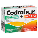 Codral Plus Duo Relief Sore Throat Lozenges Lime & Lemon + Cold & Flu