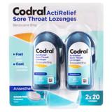 Codral ActiRelief Sore Throat Lozenges Anaesthetic Coolmint 2 x 20 Pack