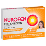 Nurofen Children 7+ Pain and Fever Relief Chewable Capsules Orange 12 Pack