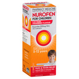 Nurofen For Children 5-12yrs Pain and Fever Relief Concentrated Liquid 200mg/5mL Ibuprofen Strawberry 200mL