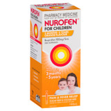 Nurofen For Children 3 months to 5 years Pain and Fever Relief 100mg/5mL Ibuprofen Orange 100mL