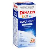 Demazin Kids 6+ Cold Relief Colour Free Syrup Peach & Vanilla Flavour 200mL