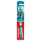Colgate 360° Whole Mouth Clean Manual Toothbrush, 1 Pack, Medium Bristles, 25% Recycled Plastic Handle