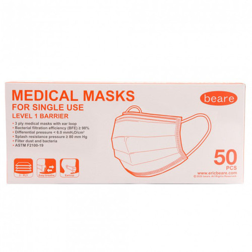 Beare 3-Ply Non-Woven General Use Disposable Face Mask BPE 99% - Earloops - 10 Pack