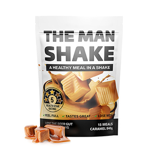 The Man Shake Caramel 840g at Blooms The Chemist