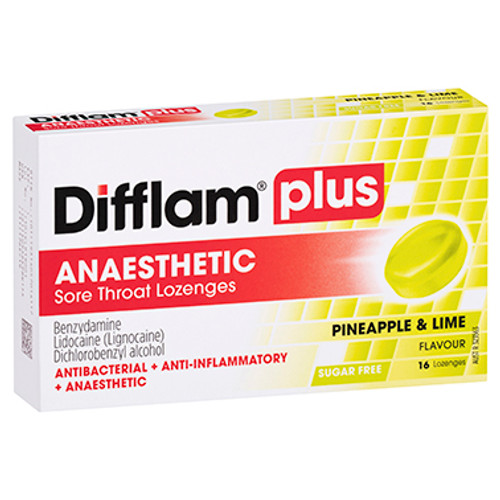 Difflam Plus Anaesthetic Sore Throat Lozenges Pineapple & Lime - 16 Pack