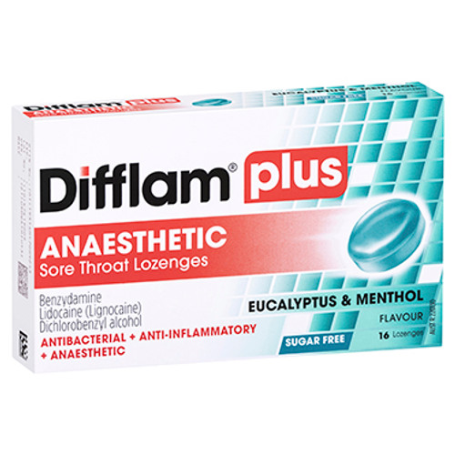 Difflam Plus Anaesthetic Sore Throat Lozenges Eucalyptus & Menthol - 16 Pack