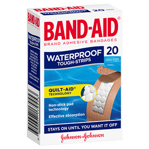 Band-Aid Waterproof Tough Strips 20 Pack at Blooms The Chemist