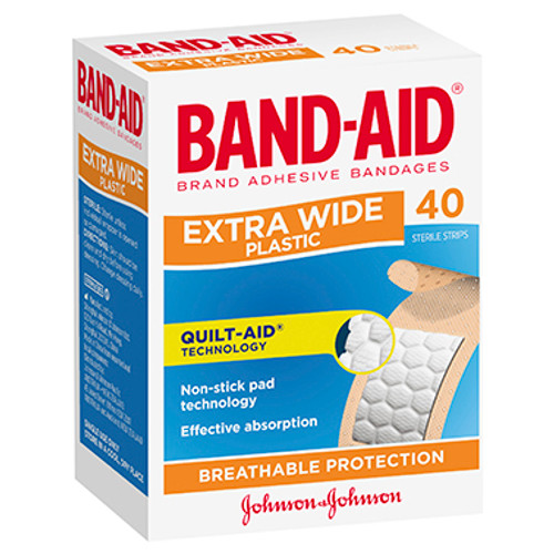 Band-Aid Extra Wide Plastic Strips 40 Pack at Blooms The Chemist