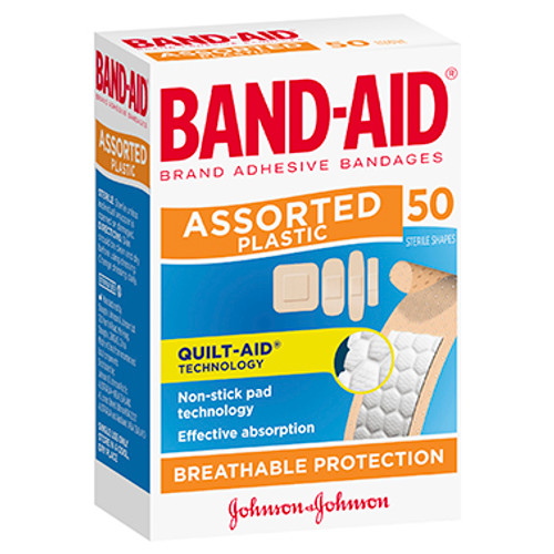 Band-Aid Brand Plastic Strips Assorted Shapes 50 Pack at Blooms The Chemist