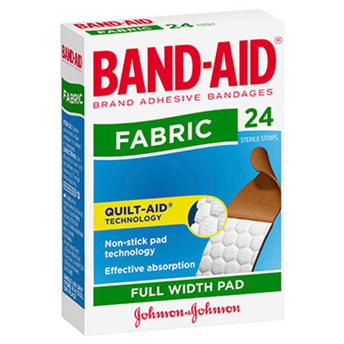 Band-Aid Fabric Full Width Pad 24 Pack at Blooms The Chemist