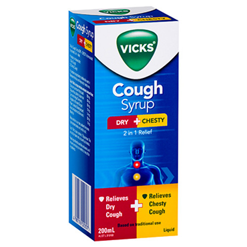 Vicks Cough Syrup Dry + Chesty 200mL at Blooms The Chemist