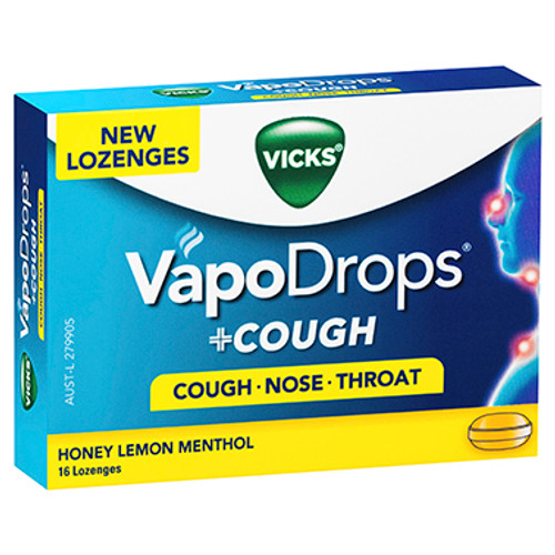 VICKS VapoDrops +Cough Honey Lemon Menthol 16 Lozenges at Blooms The Chemist