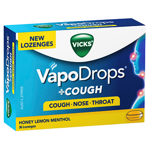 Vicks VapoDrops + Cough Honey Lemon Menthol 36 Lozenges at Blooms The Chemist