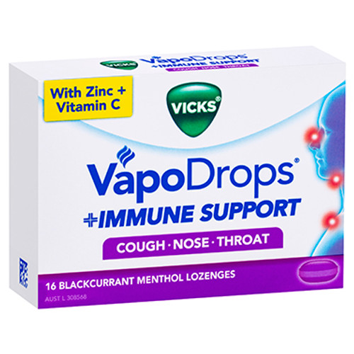 Vicks VapoDrops Immune Support Blackcurrant - 16 Pack at Blooms The Chemist