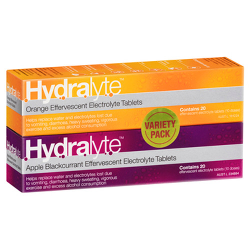 Hydralyte Effervescent Electrolyte Orange and Apple Blackcurrant 40 Tablets at Blooms The Chemist