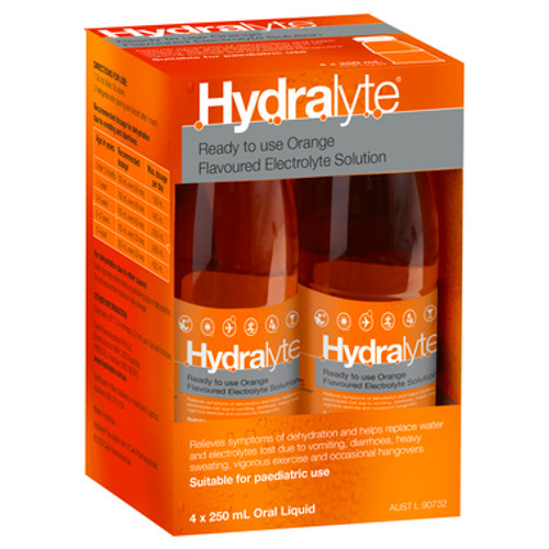 Hydralyte Ready to use Electrolyte Solution Orange 4 x 250mL at Blooms The Chemist