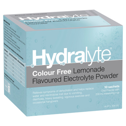 Hydralyte Electrolyte Powder Colourfree Lemonade 10 Sachets at Blooms The Chemist