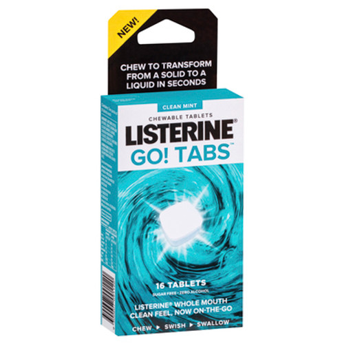 Listerine GO! Tabs Chewable Tablets Clean Mint - 16 Tablets