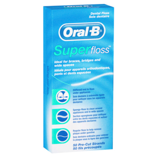 Oral-B Superfloss Dental Floss Pre-Cut Strands 50 pack