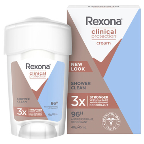 Rexona Women Antiperspirant Cream Clinical Shower Clean 45ml