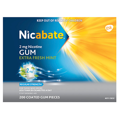 Nicabate Gum Regular Strength Extra Fresh Mint 2mg - 200 Pack