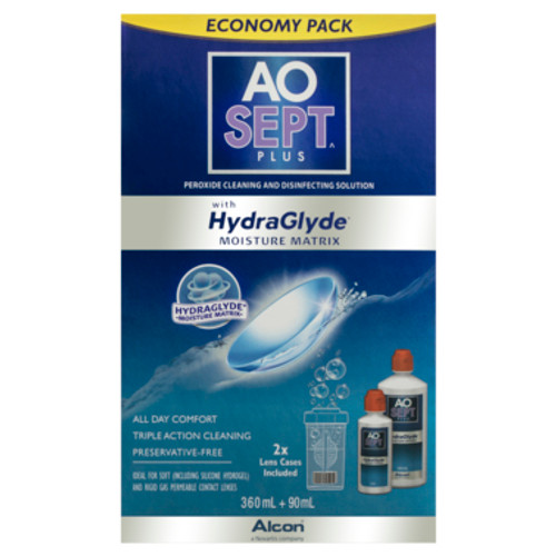 Aosept Plus Contact Lens Cleaning Solution HydraGlyde Economy Pack 360ml+90ml