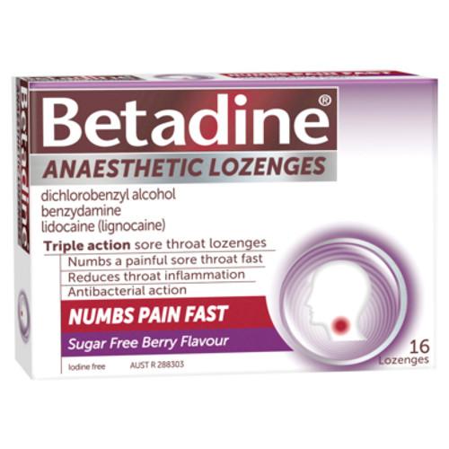 Betadine Anaesthetic Lozenges Berry 16 Pack
