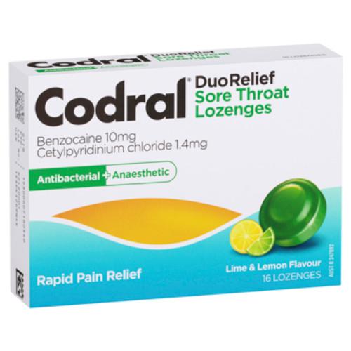 Codral Duo Relief Sore Throat Lozenges Lime & Lemon 16 Pack