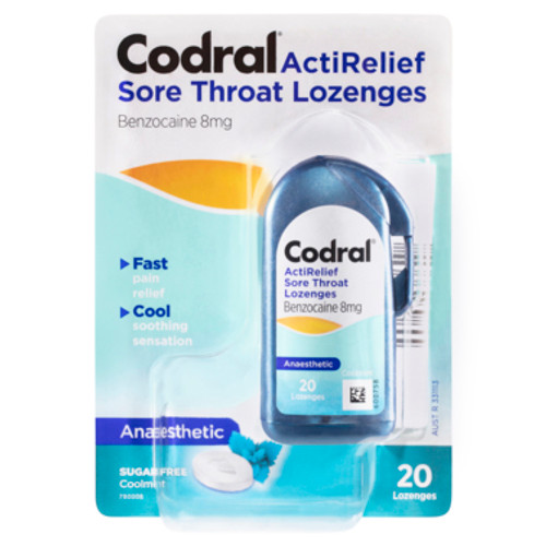 Codral ActiRelief Sore Throat Lozenges Anaesthetic Coolmint 20 Pack