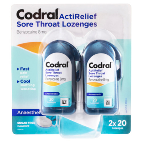 Codral ActiRelief Sore Throat Lozenges Anaesthetic Coolmint 2 x 20 Pack