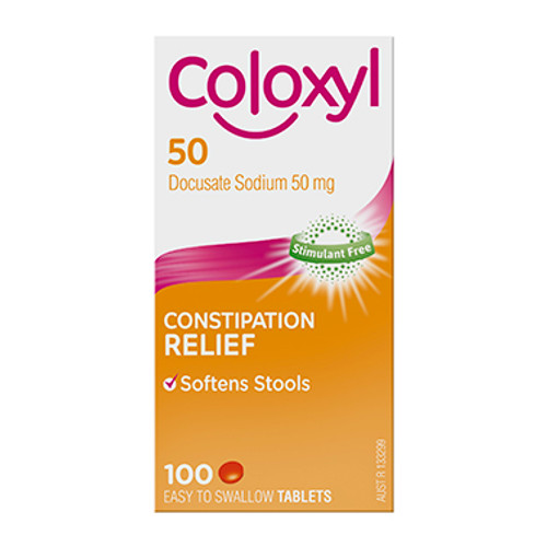 Coloxyl 50mg Constipation Relief Tablets 100pk