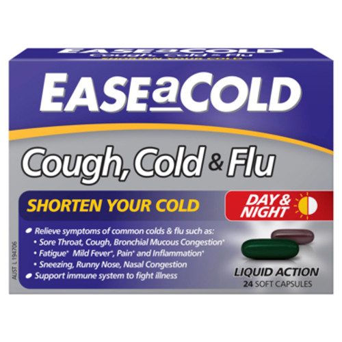 Ease A Cold Cough Cold & Flu Day & Night Soft Capsules 24pk