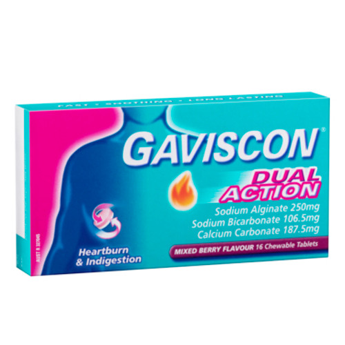 Gaviscon Dual Action Heartburn and Indigestion Relief Mixed Berry 16 Tablets