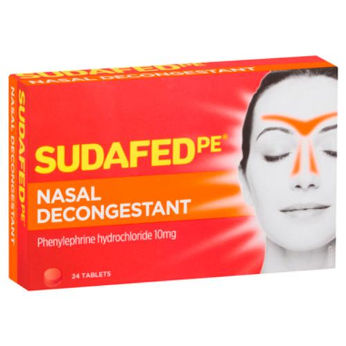 Sudafed Nasal Decongestant PE Tablets 24pk