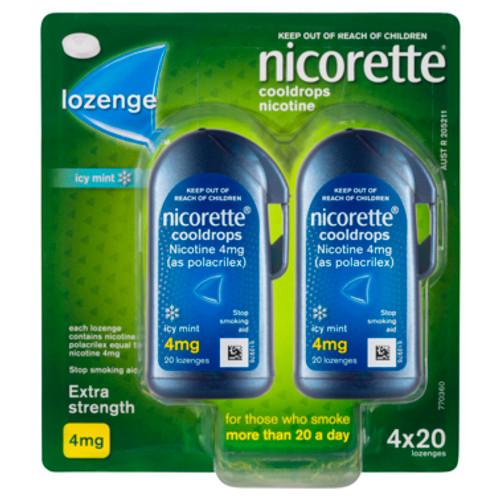 Nicorette Cooldrops Lozenge Icy Mint Extra Strength 4 x 20 Pack