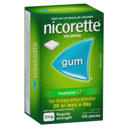 Nicorette Gum Regular Strength 2mg Freshmint 105 Pack