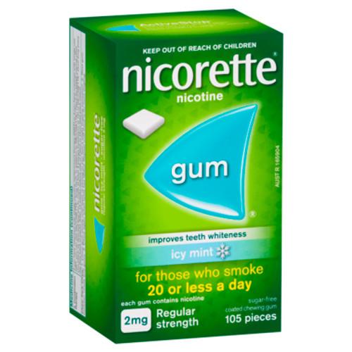 Nicorette Gum Icy Mint 2mg Regular Strength 105 Pack