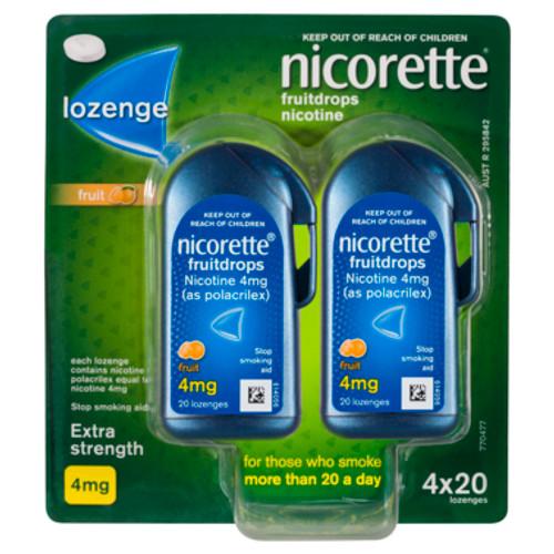 Nicorette Fruitdrops Lozenge Extra Strength 4 x 20 Pack