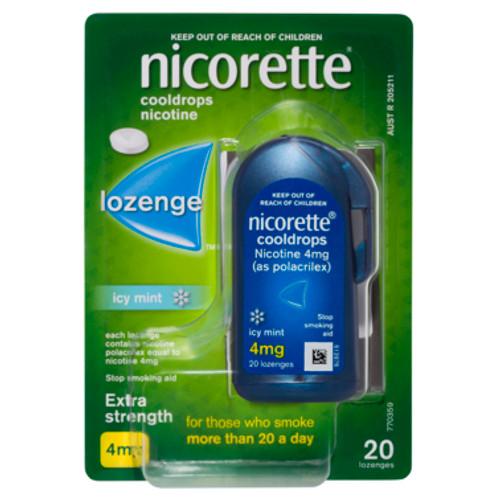 Nicorette Lozenge Cooldrops Nicotine Extra Strength Icy Mint 20 Pack