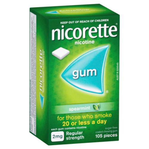 Nicorette Gum 2mg Regular Strength Spearmint 105 Pack