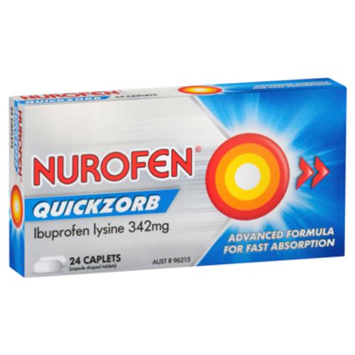 Nurofen Quickzorb Ibuprofen Lysine 342mg 24 Caplets