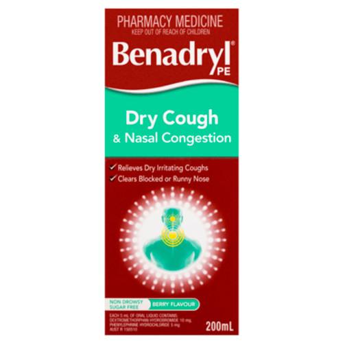Benadryl PE Dry Cough & Nasal Congestion Non Drowsy Berry Flavour 200mL